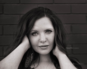 black and white headshot of fun senior session in Greenville